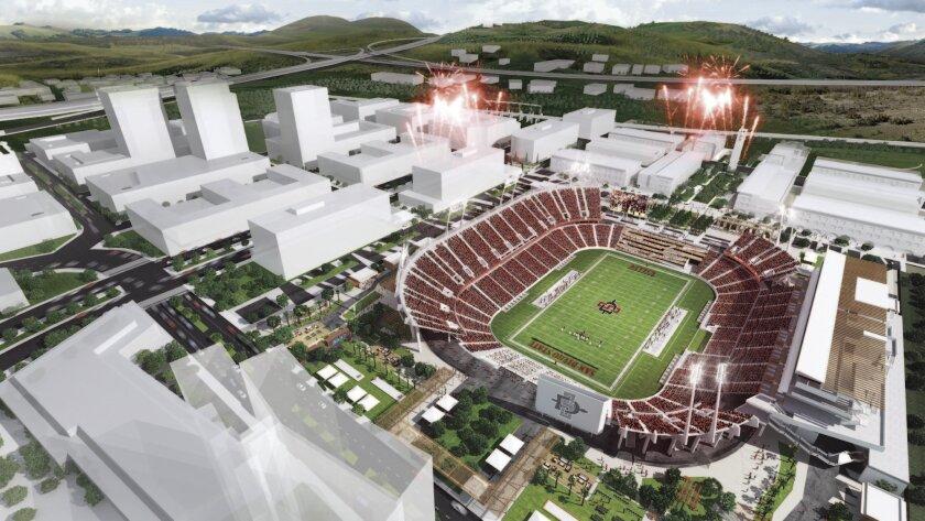 Rendering of SDSU Mission Valley stadium.