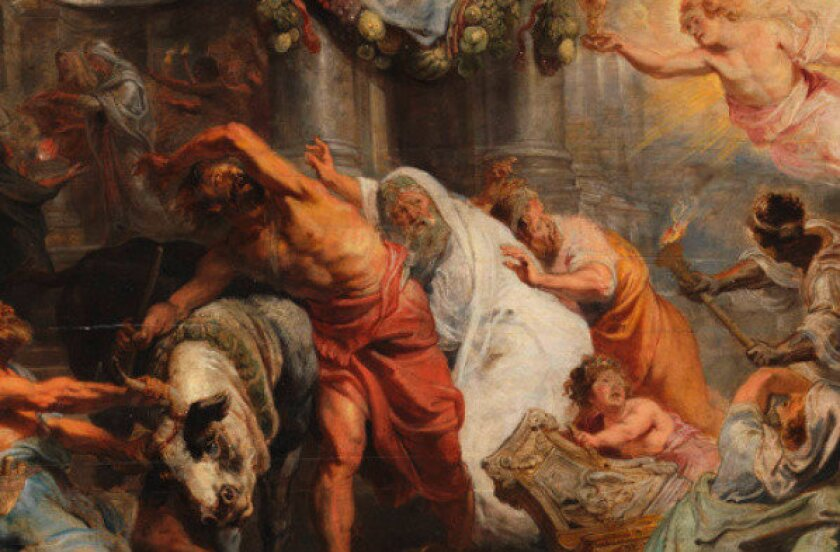 """A detail of the 17th century work """"Triumph of the Eucharist over Idolatry,"""" by Peter Paul Rubens, at the Prado Museum in Madrid."""