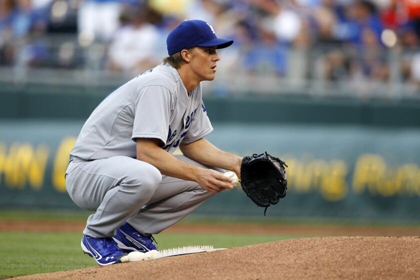 Zack Greinke gave up five earned runs on 11 hits over 5 2/3 innings for the Dodgers on Monday in Kansas City.