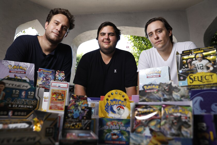 Anthony Jimenez, left, Michael Hotchkiss and Gio Mancuso run a live Instagram show selling and buying Pokémon collectibles.