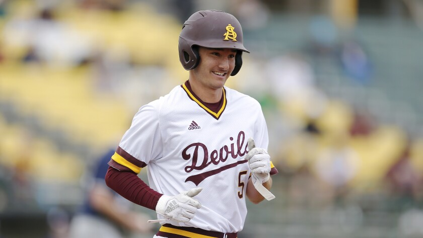 Arizona State infielder Alika Williams during an NCAA college baseball game against Notre Dame in 2019.