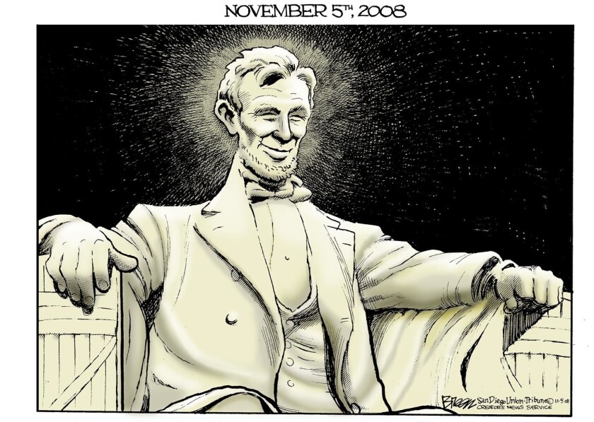 Steve Breen editorial cartoon on Nov. 5, 2008, one day after Barack Obama was elected as the 44th President of the Untied States.