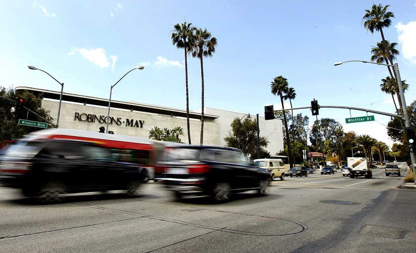 The long-closed Robinsons-May store beside the Beverly Hilton was torn down in 2014.