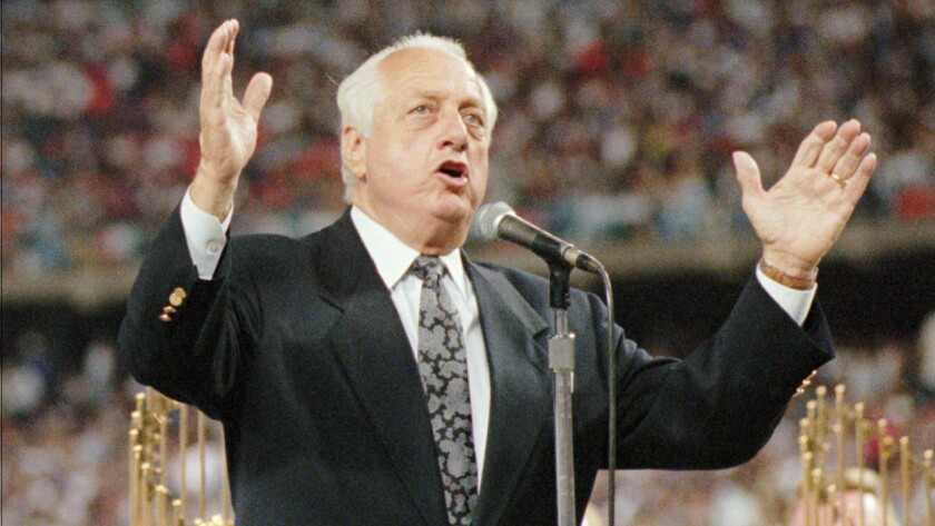 Tom Lasorda speaks during a ceremony held in his honor at Dodger Stadium on Sept. 7, 1996.