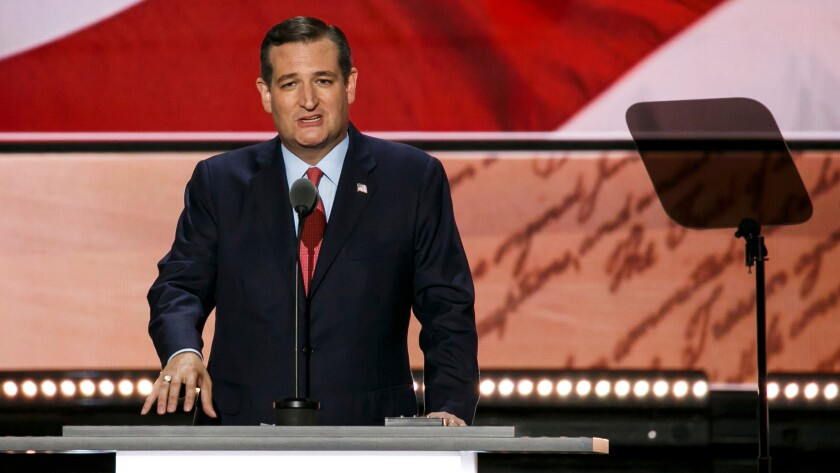 U.S. Sen. Ted Cruz takes the stage at the 2016 Republican National Convention in Cleveland, Ohio, on July 20.