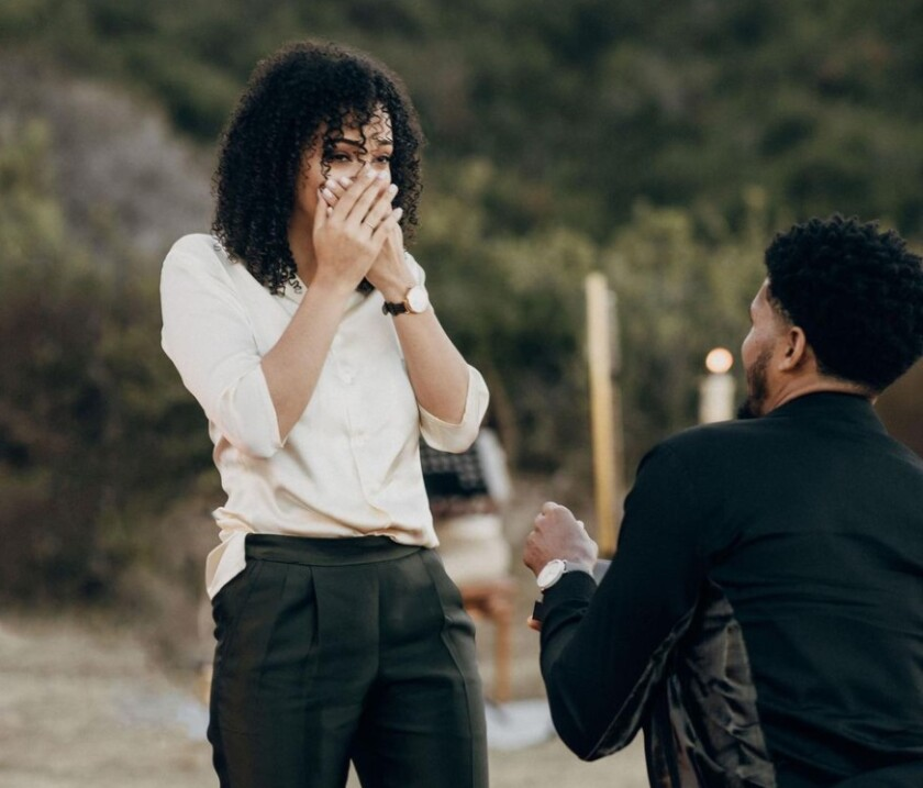 Philadelphia 76ers' Tobias Harris proposes to his girlfriend, Jasmine Winton, in La Jolla.
