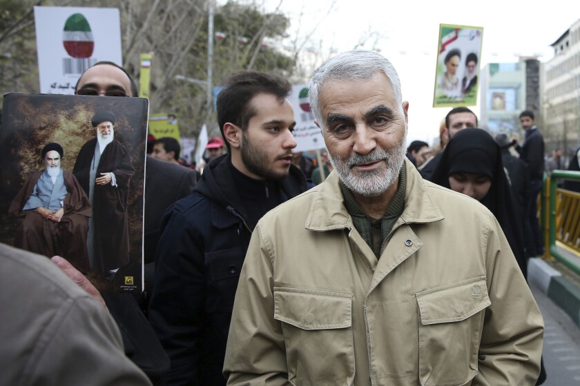 Feb. 11, 2016 photo of Qassem Soleimani, commander of Iran's Quds Force, attending a rally commemorating the anniversary of the 1979 Islamic revolution, in Tehran, Iran.