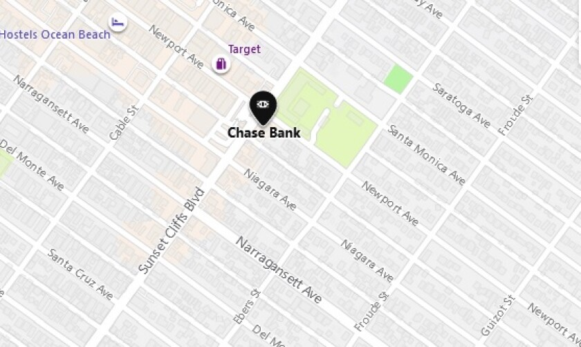 A man tried to rob the Chase Bank on Sunset Cliffs Boulevard in Ocean Beach on Sept. 3, police said.