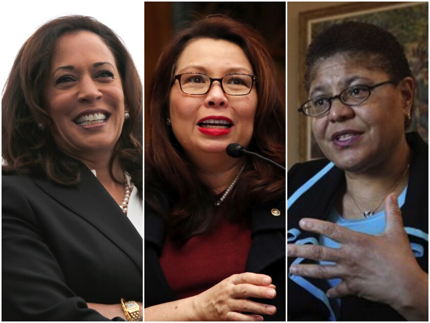 Sens. Kamala Harris, from left, Tammy Duckworth and Rep. Karen Bass are being considered for the vice presidential pick.