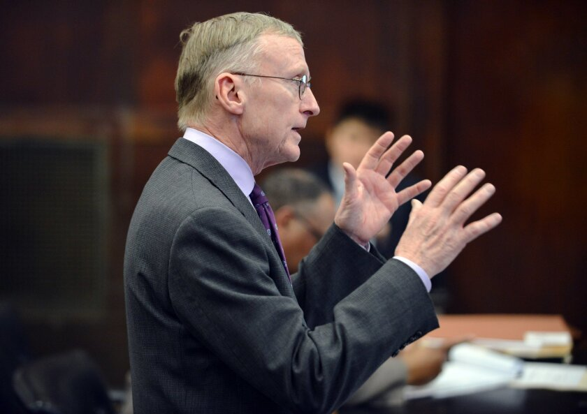 Charlie Rankin, Attorney for Aaron Hernandez, speaks during a hearing in Suffolk Superior Court in Boston, Mass., Tuesday, Feb. 16, 2016. Lawyers for former New England Patriots player Hernandez have asked a judge to allow jurors at his upcoming trial to see a car prosecutors say Hernandez was in w
