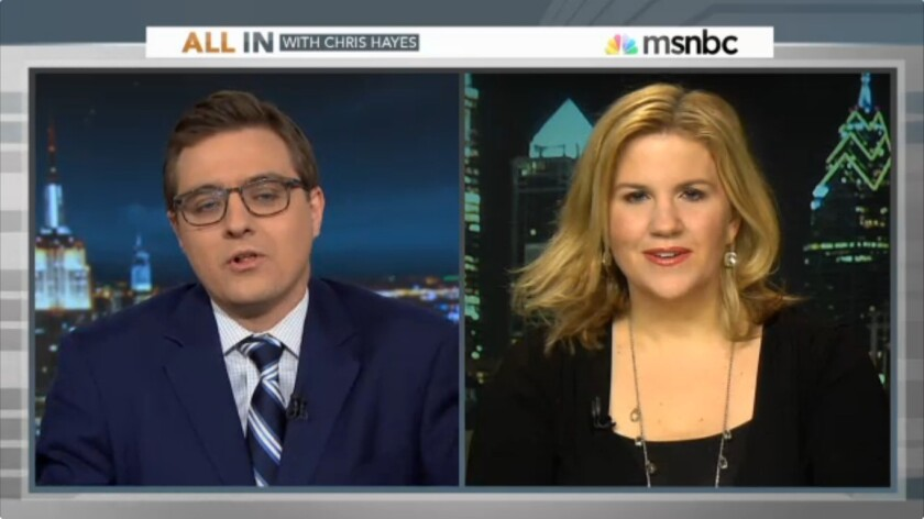"MSNBC ""All In"" host Chris Hayes with guest Jennifer Stefano"