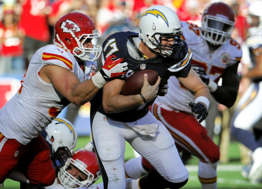 San Diego Chargers quarterback Philip Rivers in a December 2013 game against the Kansas City Chiefs.