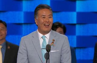 Rep. Mark Takano of California speaks at the Democratic National Convention