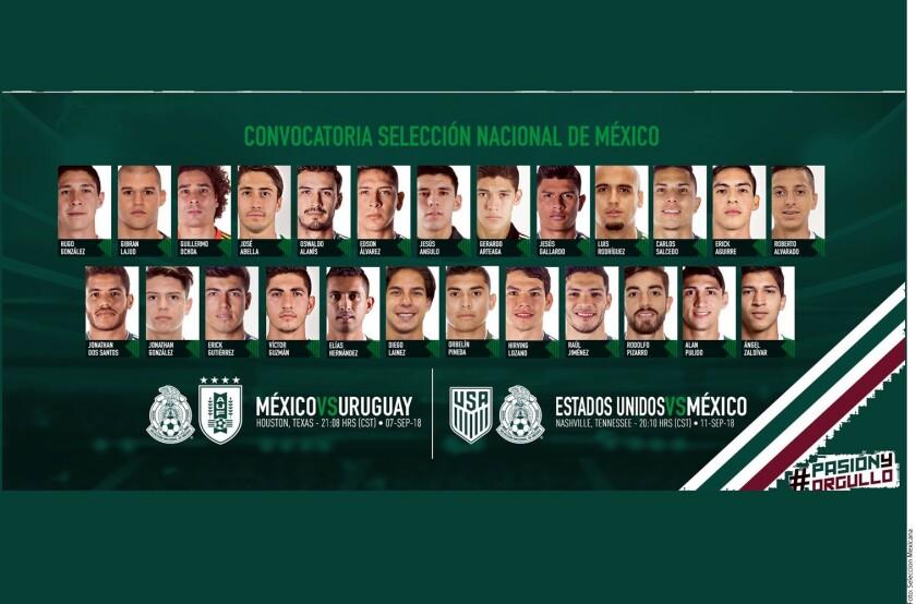 Los jugadores para enfrentar a Uruguay el 7 de septiembre en Houston y el día 11 a Estados Unidos en Nashville.