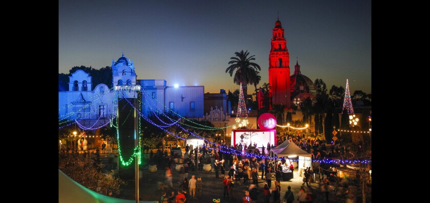 People fill the Plaza de Panama during December Nights at Balboa Park in San Diego.