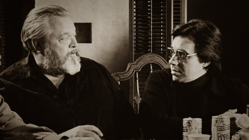 "Orson Wells, left, and Peter Bogdanovich from the documentary ""They'll Love Me When I'm Dead."""