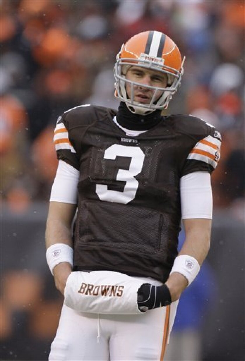 FILE - In this Jan. 3, 2010, file photo, Cleveland Browns quarterback Derek Anderson looks on during an NFL football game against the Jacksonville Jaguars in Cleveland. Anderson's uneven five-year stint with the Cleveland Browns is officially over. The team released the one-time Pro Bowl quarterback on Tuesday, March 9, 2010, one day after the Browns acquired backup Seneca Wallace in a trade from Seattle. (AP Photo/Amy Sancetta)