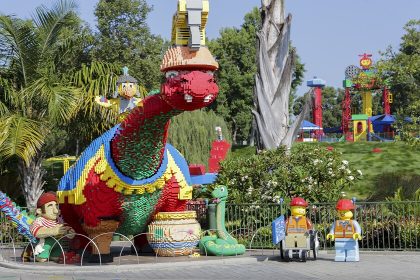 Bronty, a large brontosaurus made of Lego bricks at Legoland.