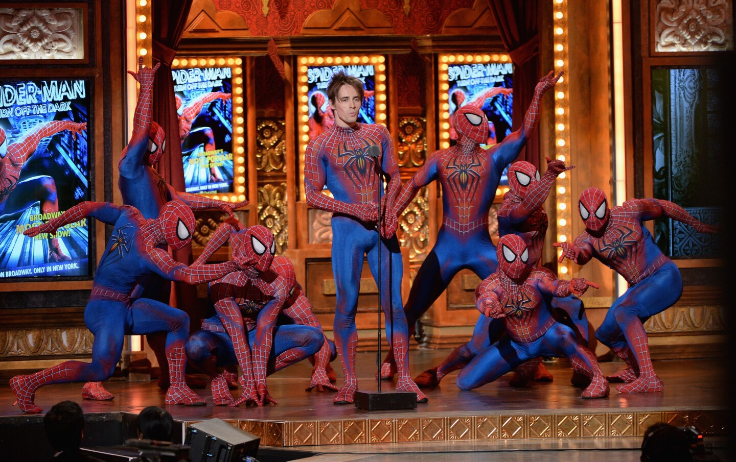 """Reeve Carney of """"Spider-Man: Turn Off the Dark"""" and fellow web-slingers take a turn onstage."""