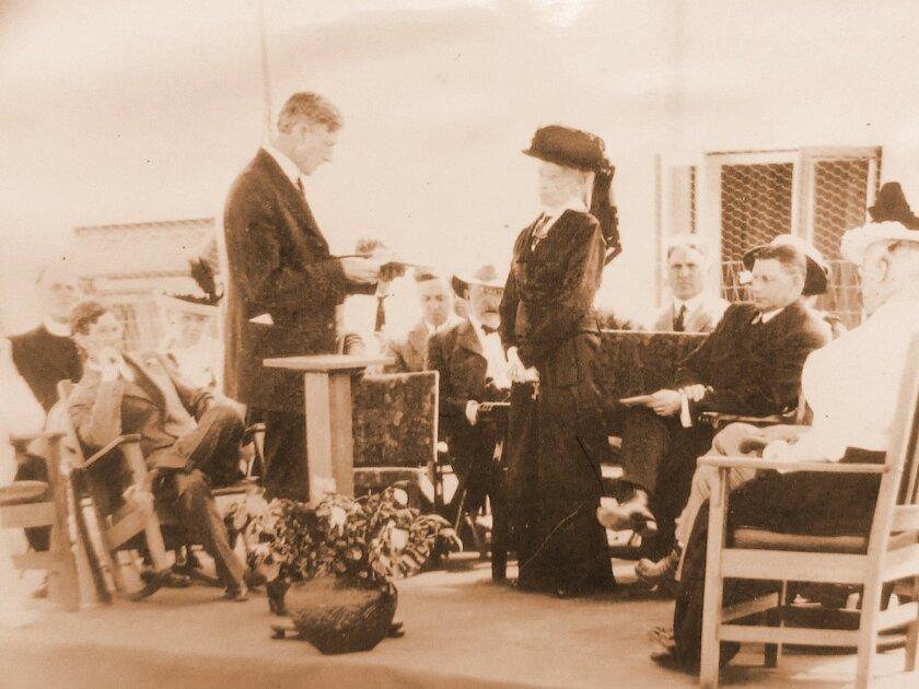 Ms. Ellen Browning Scripps (standing center) at the dedication of the La Jolla Recreation Center, July 3, 1915. La Jolla Historical Society