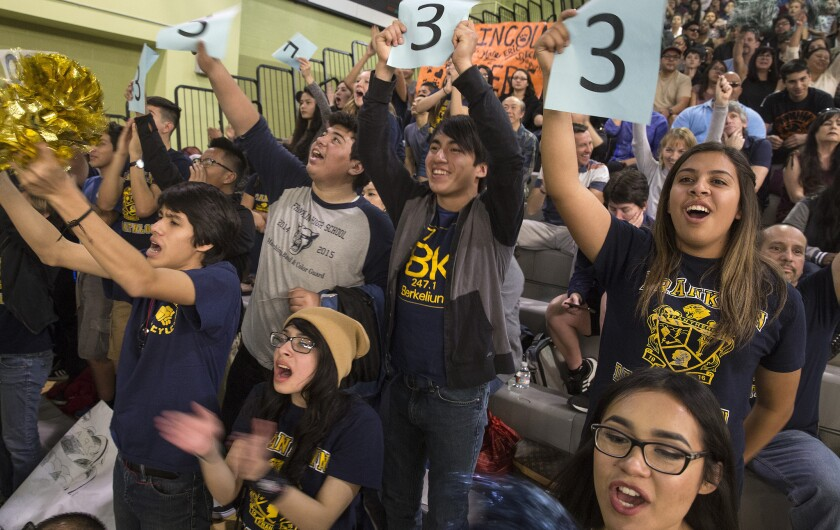"""Franklin High School students cheer on their Academic Decathlon team in the """"super quiz"""" portion of the Los Angeles Unified School District decathlon this month. Franklin finished third in the overall competition, which was won by Granada Hills Charter High."""
