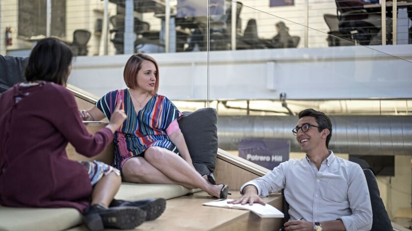 SAN FRANCISCO, CALIF. - MAY 31, 2018 - Aubrey Blanche chats with colleagues Tanaz Ahmed and Mackenz