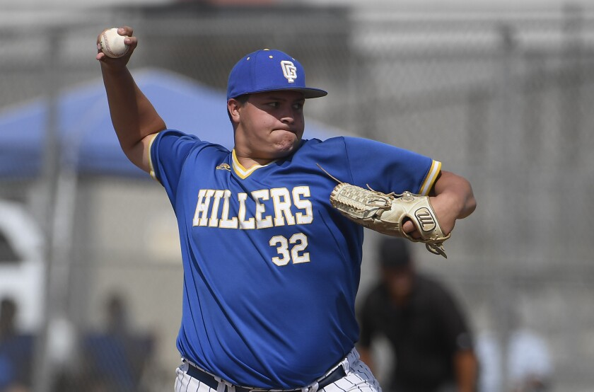 Grossmont High pitcher Jake Romero delivers Tuesday against La Costa Canyon. Romero tossed a five-hitter for the win.
