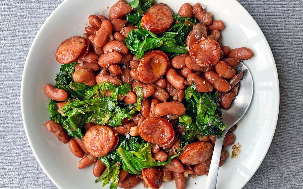 Red beans and greens with andouille sausage