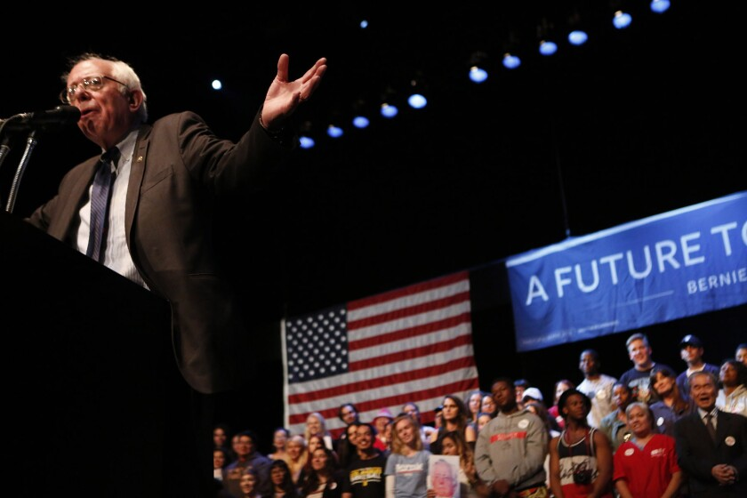 Vermont Sen. Bernie Sanders addresses supporters at the Wiltern in Los Angeles. Even if he wins a significant share of the delegates in the California primary, it'll be had for him to catch up to Hillary Clinton.