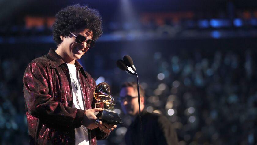 Bruno Mars was the big winner at Sunday night's Grammy Awards in New York.