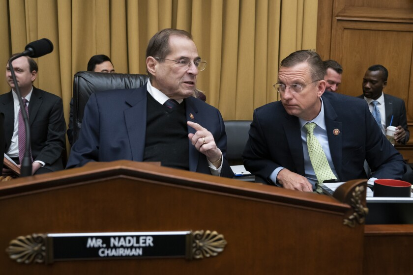 Rep. Jerrold Nadler (D-N.Y.), left, chairman of the House Judiciary Committee, and Rep. Doug Collins (R-Ga.), the panel's senior Republican.