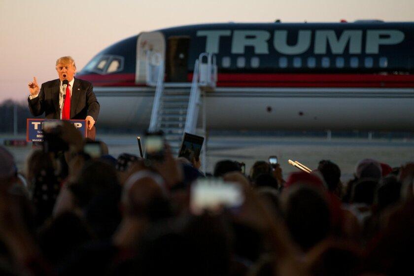 Republican presidential candidate Donald Trump speaks during a rally at Millington Regional Airport in Millington, Tenn., Saturday, Feb. 27, 2016. (AP Photo/Andrew Harnik)