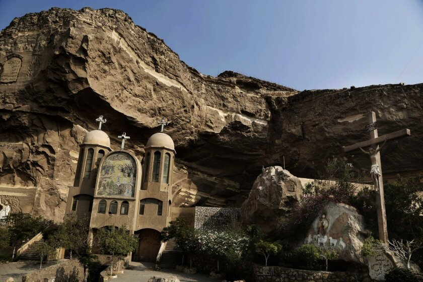 A general view of the Cave Cathedral or St. Sama'ans Church on the Mokattam hills overlooking Cairo, Egypt, Tuesday, Aug. 30, 2016. After long hoping for an end to restrictions on the building of churches, many of Egypt's Christians are infuriated and feeling betrayed after lawmakers on Tuesday pas