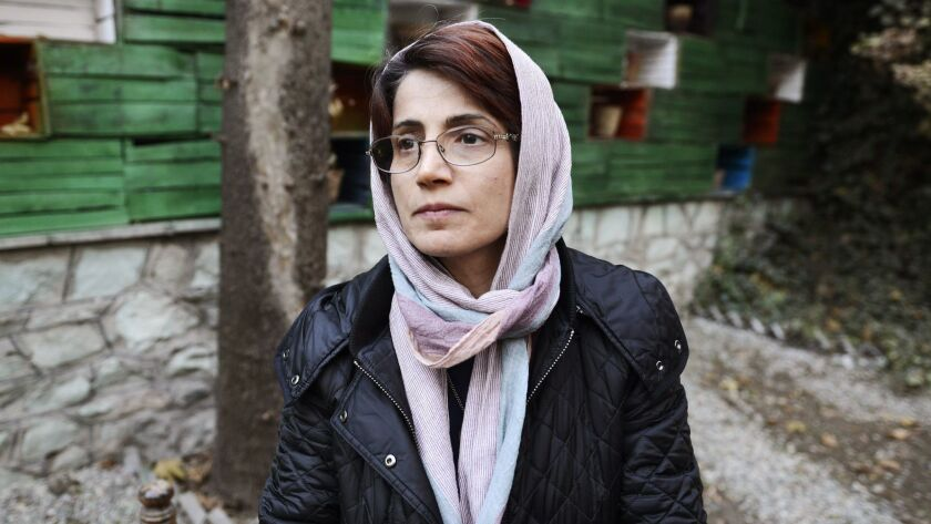 Human rights lawyer Nasrin Sotoudeh is shown in the garden at her Tehran office in December 2014.