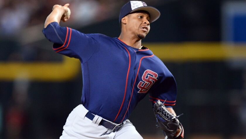 The Padres' Luis Perdomo (61) pitches during the first inning against the Arizona Diamondbacks at Chase Field on July 4, 2016.