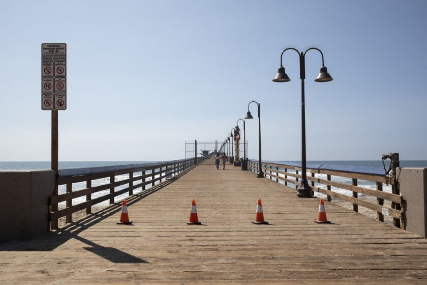 The Imperial Beach Pier was closed to determine if it was structurally sound after a pier broke off Monday.