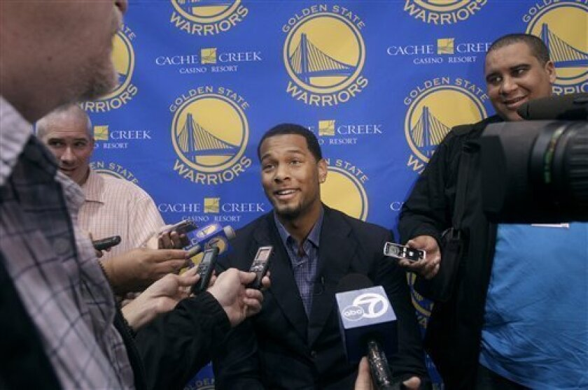 Golden State Warriors draft pick Jeremy Tyler speaks to reporters at a news conference in Oakland, Calif., Monday, June 27, 2011. Tyler is a former San Diego high school star  who has played basketball professionally in Israel and Japan. (AP Photo/Jeff Chiu)