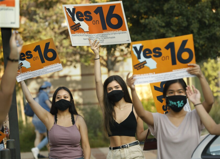 Students rally at UCLA in support of Proposition 16