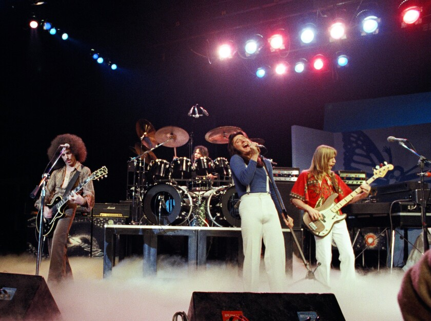 From left, Neal Schon, Aynsley Dunbar, Steve Perry and Ross Valory of Journey perform live in 1978 in San Francisco.