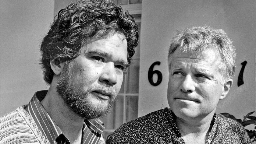 Gay partners Richard Adams, left, and Anthony Sullivan during a press conference in 1984. They were facing the deportation of Sullivan, to Australia.