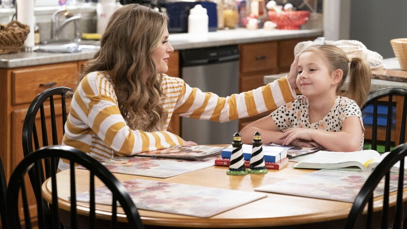 """Maggie Lawson, left, and Oakley Bull in the season finale of the family comedy """"Outmatched"""" on Fox."""
