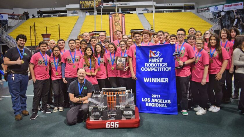 Clark Magnet High School's Team 696 competed against 59 teams to win the FIRST Robotics Los Angeles regional competition.