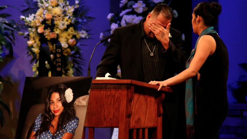Reynaldo Gonzalez breaks down while remembering his daughter Nohemi Gonzalez, who was killed in the Paris terror attacks, at her funeral in Downey on Dec. 4, 2015. Gonzalez is suing several social media sites, alleging they allowed the spread of extremist propaganda.