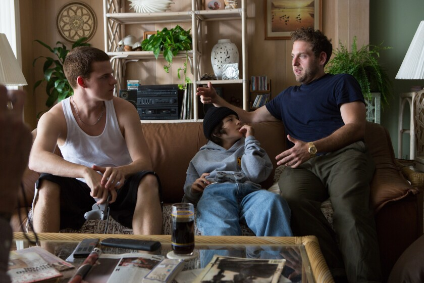 """Lucas Hedges, Sunny Suljic and director Jonah Hill on the set of the movie """"Mid90s."""""""