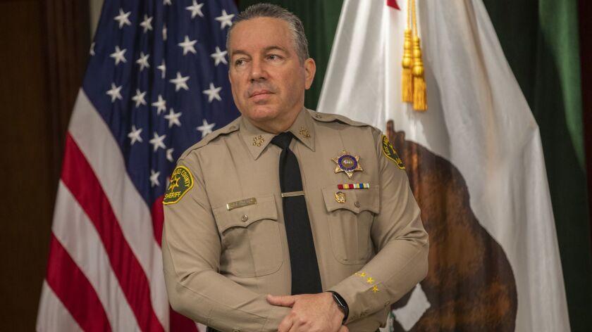 LOS ANGELES, CALIF. -- WEDNESDAY, APRIL 24, 2019: L.A. County Sheriff Alex Villanueva waits to speak