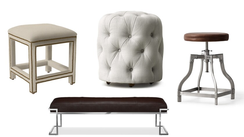 Clockwise from left: Serena & Lily Dorset stool, $1,095; Simone tufted stool, $479 at RH Teen; Draftsman stool, $220 at RH Teen; Delf bench, $1,895 at Williams Sonoma Home.