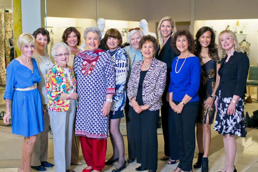Old Globe Theater's Globe Guilders' Volunteer Auxiliary members, L-R, front: Margi Sargis, June Harland, Marilyn Johns, Bonnie Wright, Dolores Smith, Bonnie Duell, Joyce Nash. Back: Carol Winter, Kim Neapole, Alice Kirby, Nicole Hall-Brown, Lena Evans. Photo by F&L Media