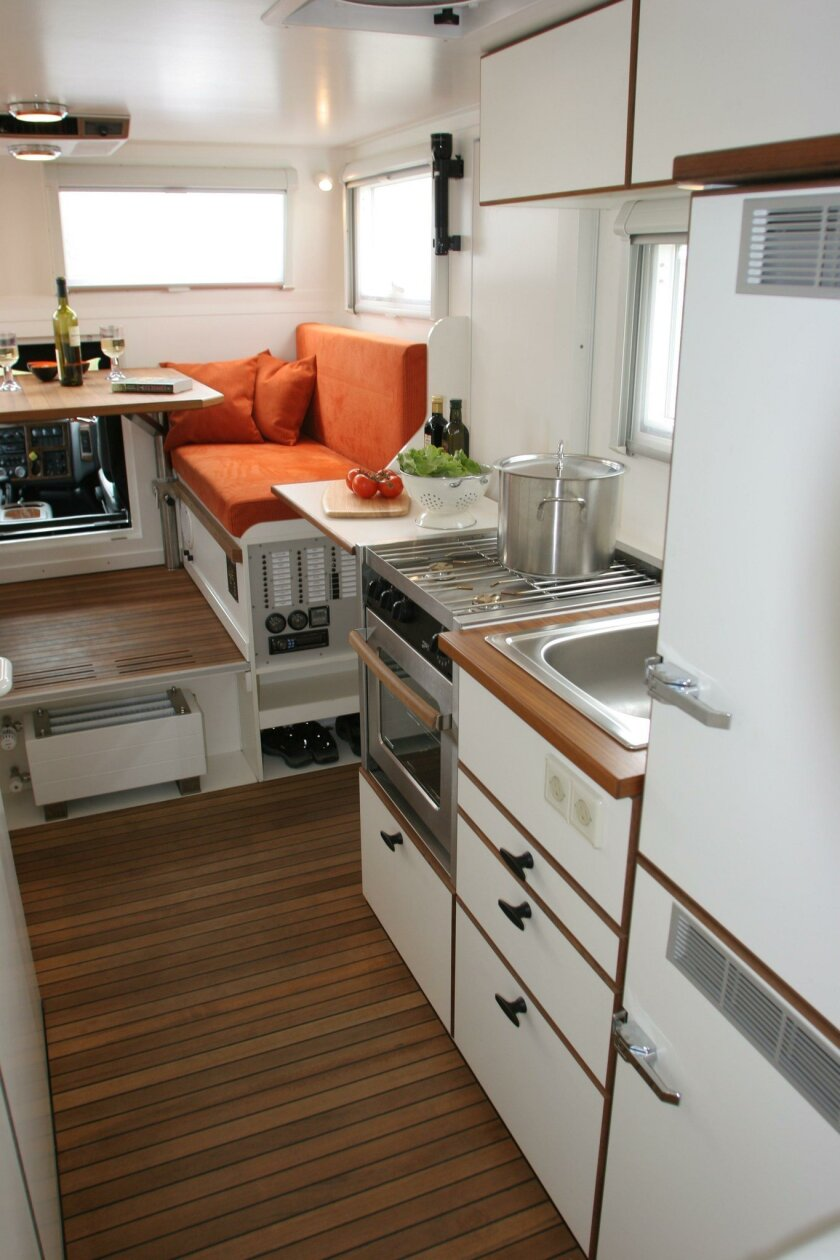 The interior of a luxury Unicat expedition vehicle shows how sophisticated micro-apartments could be.