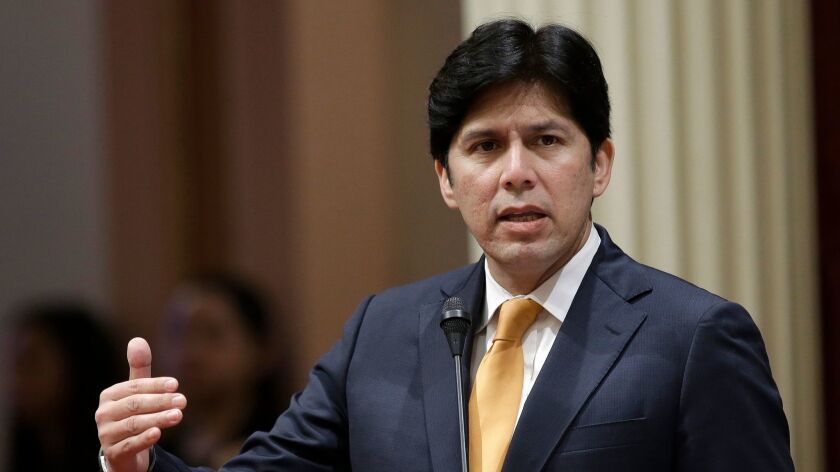 Kevin de Leon, D-Los Angeles, addresses the Senate in Sacramento on May 19, 2016.