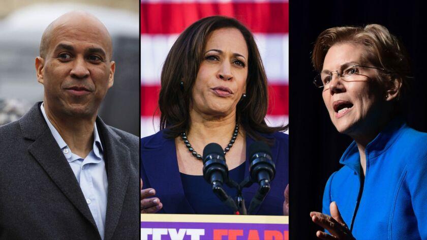 Senators Corey Booker, Kamala Harris and Elizabth Warren.